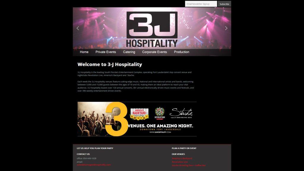 Image of the 3-J Hospitality website