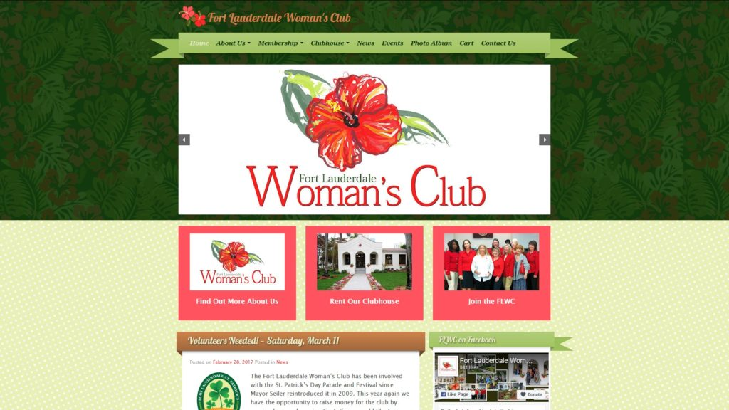 Image of the Fort Lauderdale Woman's Club website