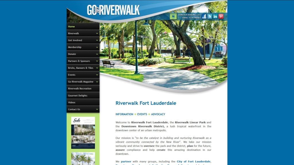Image of the Riverwalk Fort Lauderdale website