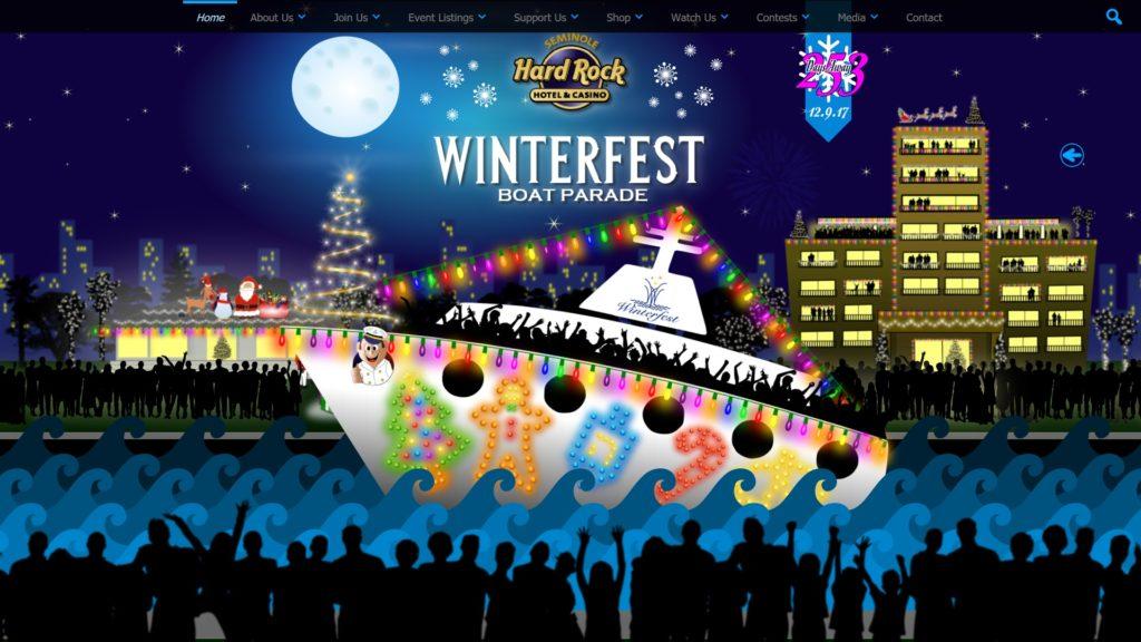 Image of the The Seminole Hard Rock Winterfest Boat Parade website