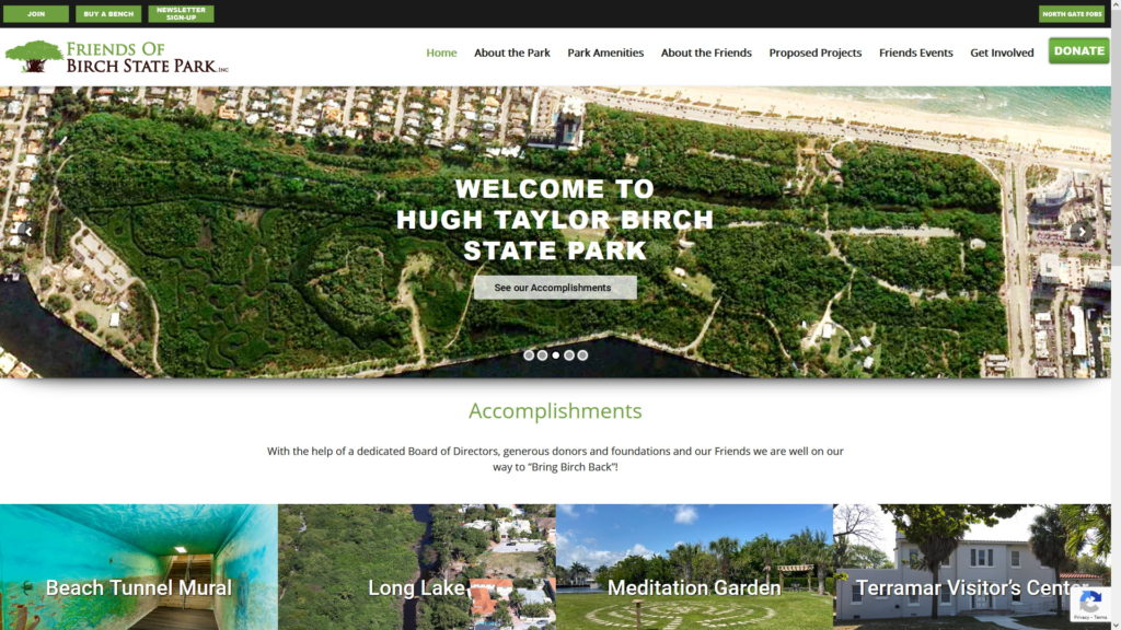 Image of the Birch State Park website