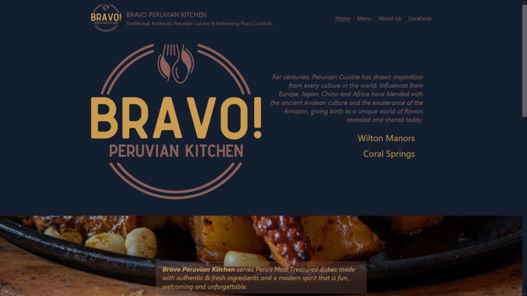 Image of the Bravo Peruvian Kitchen website
