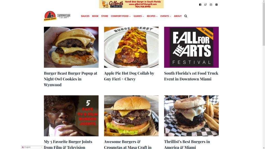 Image of the Burger Beast website