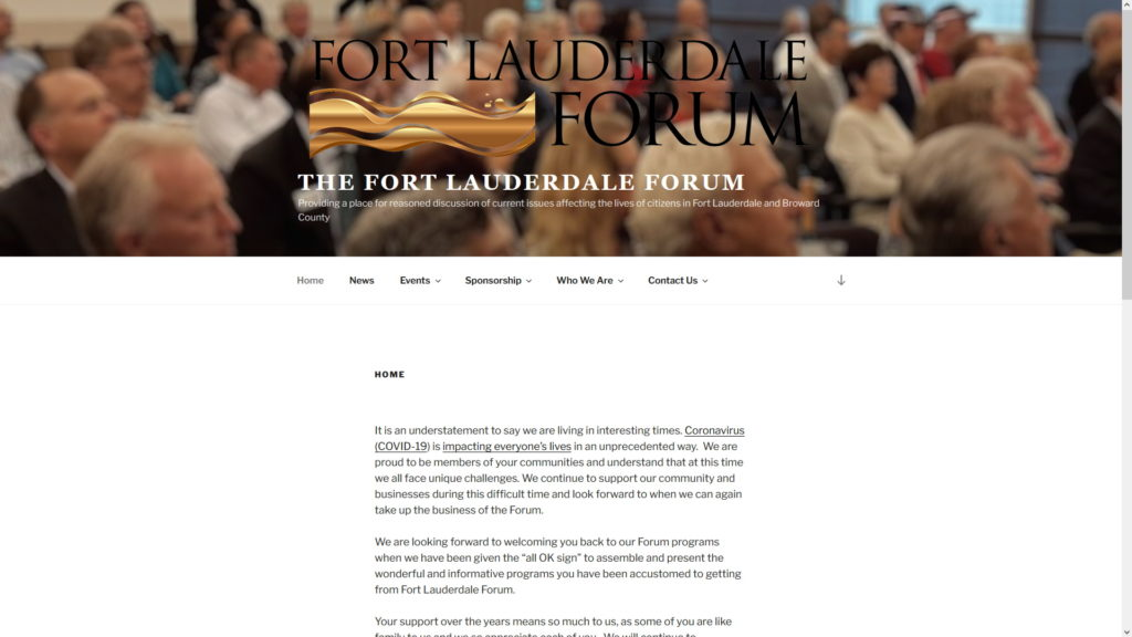 Image of The Fort Lauderdale Forum website