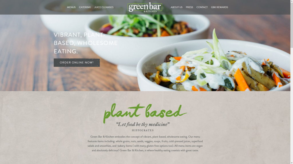 Image of the Green Bar & Kitchen website