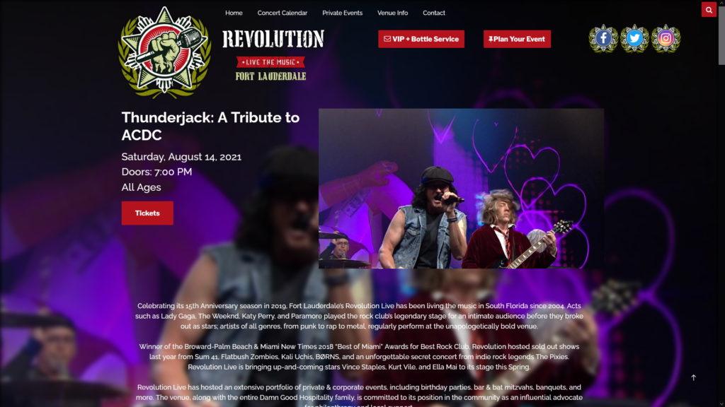 Image of the Revolution Live website
