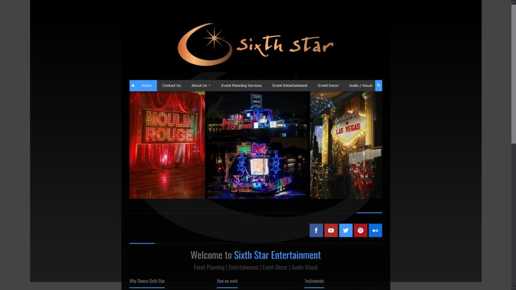 Image of the Sixth Star Entertainment website